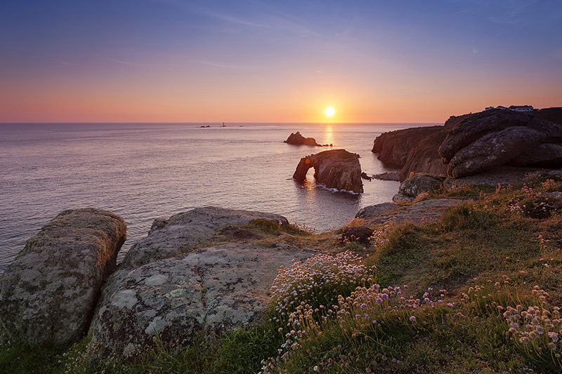 The Enys Dodman Arch at Land's End in Cornwall