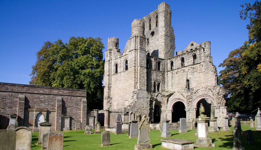 Kelso Abbey on the Borders Abbeys Way